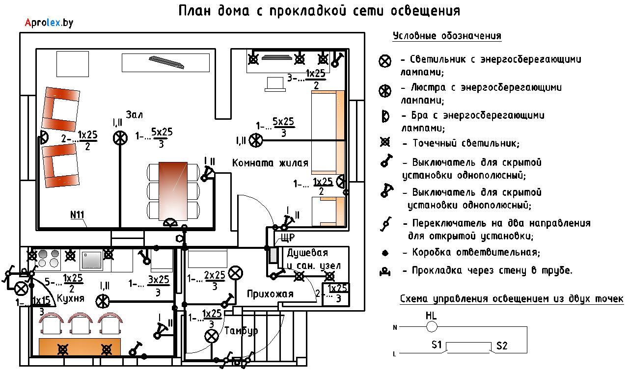 электрики план доме схема в